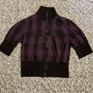 Ashley International Black and Purple short sleeve